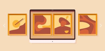 Art gallery on screen in flat style. Online museum concept. Vector design