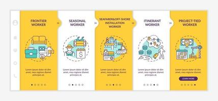 Immigrant workers types onboarding vector template