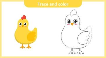 Trace and Color Chicken vector