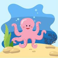 Cute octopus on the background of the seascape. Isolated vector illustration in the seabed. Design concept with marine mammal. Cartoon style
