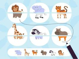 Puzzle game for preschool and school age children. Collect photos. An entertaining game for kids with wild safari animals. Vector illustration