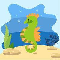 Cute seahorse on the background of the seascape. Isolated vector illustration in the seabed. Design concept with marine mammal. Cartoon style