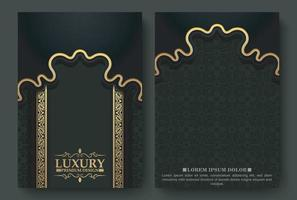Luxury dark background mandala card vector