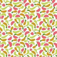 Seamless pattern with fruits. Pineapple, pear and apple. Juicy fruits. Endless texture vector
