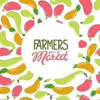 Fondo de frutas con letras del mercado de agricultores. ilustración vectorial en un estilo plano. manzana, piña, pera vector