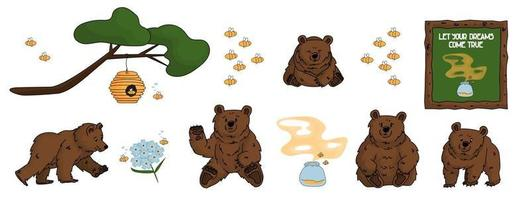 Set of hand drawn bears that walks and sits, honey, forget me nots, beehive, smell of honey, tree, branch, bees and painting vector