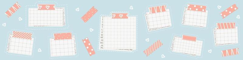 Set of Graph square mockup paper with dots, piece of newspaper is on the bottom, pink washi tape with lines is on the top vector