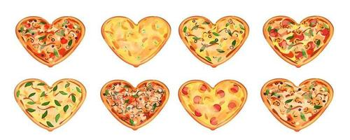 Set of eight heart pizzas with different ingredients isolated on white background. Possible gift for  Valentines day. Basil leaves are around vector