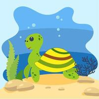 Cute turtle on the background of the seascape. Isolated vector illustration in the seabed. Design concept with marine mammal. Cartoon style