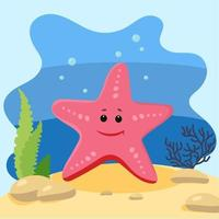 Cute starfish on the background of the seascape. Isolated vector illustration in the seabed. Design concept with marine mammal. Cartoon style
