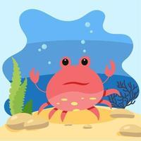 lindo cangrejo de mar en el fondo del paisaje marino. ilustración vectorial aislada en el fondo del mar. concepto de diseño con mamíferos marinos. estilo de dibujos animados vector