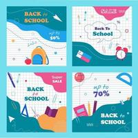 Back to school banners template set. Notebook paper background and school items. vector
