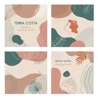 Social media banners set of abstract modern backgrounds with terra cotta pastel color combinations, shapes and tropical palm , monstera leaves, one line women face logo or icon. vector