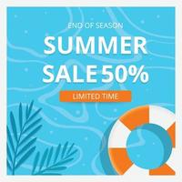 Summer sale banner template and background. Hot season discount poster. Flat design. Vector illustration.