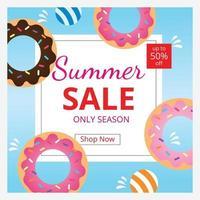 Summer sale banner template. Hot season discount poster. Invitation for shopping. Flat design. Vector illustration.