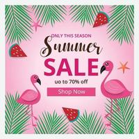 Summer sale banner template and background with flamingo. Hot season discount poster. Flat design. Vector illustration.