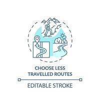 Elija el icono del concepto de rutas menos transitadas vector