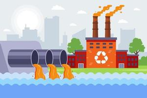 an industrial plant pollutes the environment vector