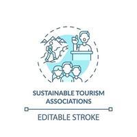 icono de concepto de asociaciones de turismo sostenible vector