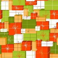 Seamless pattern with a mountain of gifts for the holiday vector
