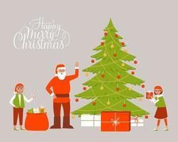 Santa claus near the Christmas tree with gifts and elves vector