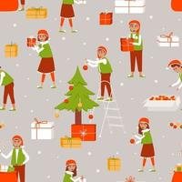 Seamless pattern of elves decorating the Christmas tree and preparing gifts for Christmas vector