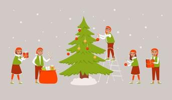 A set of elves decorating the Christmas tree and preparing gifts for Christmas vector