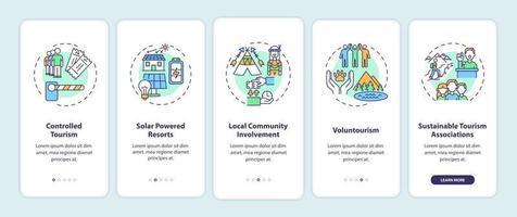 Pantalla de la página de la aplicación de incorporación de mejores prácticas de turismo sostenible con conceptos vector