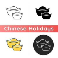 Chinese gold ingots icon vector