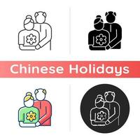 Old couple icon vector