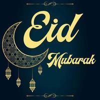 Eid mubarak greeting card design with moon vector