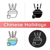 Rice bowl icon vector