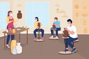 Pottery class during pandemic flat color vector illustration