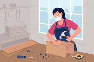 Female carpenter in protective glasses at work flat color vector illustration