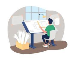 arquitecto en el escritorio de trabajo 2d vector web banner, poster
