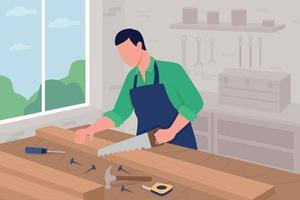 Carpenter at work flat color vector illustration