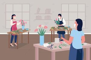Taller de floristería durante la ilustración de vector de color plano pandémico