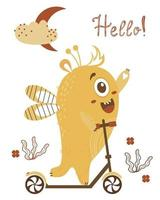Cute yellow monster boy rides a scooter. Waving a paw - hello. Vector illustration. Childrens collection for postcards, design, decor and printing