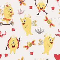 A seamless pattern with fantastic monsters. Cute yellow monsters - a girl on a scooter and a boy with a hairdo in the background with butterflies, flowers and bees. Vector