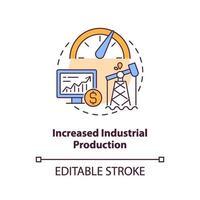 aumento del icono del concepto de producción industrial vector