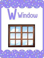 Alphabet flashcard with letter W for Window vector