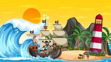 playa al atardecer escena con personaje de dibujos animados de niños piratas en el barco vector