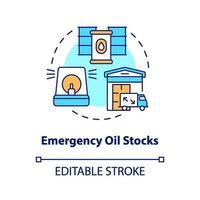 icono de concepto de existencias de petróleo de emergencia vector