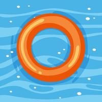 Orange swimming ring in the water isolated vector