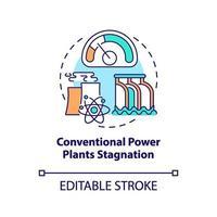 Icono de concepto de estancamiento de plantas de energía convencional vector