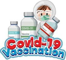 fuente de vacunación covid 19 con un médico sosteniendo una botella de covid 19 vector