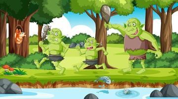 Goblin or troll cartoon character in the forest scene vector