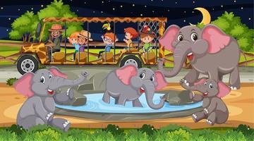 Grupo de elefantes en escena de safari con niños en el coche turístico. vector