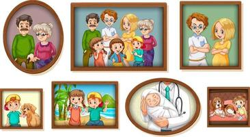 Set of happy family photo on the wooden frame vector