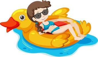 A girl laying on the duck swimming ring in the water isolated vector